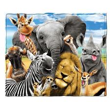 Dawhud Direct Safari Animals Selfie Fleece Throw Blanket