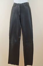 JIGSAW Ladies Black Leather Straight Leg Lined Casual Trousers Jeans Pants UK10