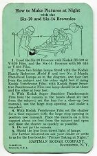 """1936 Kodak Brownie Instruction Card: """"HOW TO MAKE PICTURES AT NIGHT"""""""
