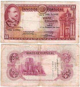 Portugal 20$00 27/02/1940 - Mouzinho de Albuquerque