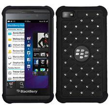 For BlackBerry Z10 HYBRID IMPACT Dazzling Diamond Case Phone Cover Black Black