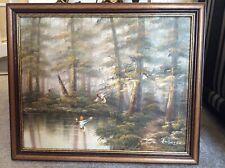 More details for vintage original landscape oil on board painting signed ambrose