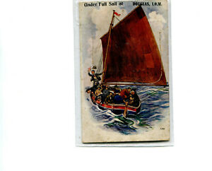 Pull out postcard, Under full sail, Douglas, Isle of Man 1922 cancel