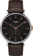 TIMEX TW2R38100 Farifield Silver & Brown Mens Leather Watch Warranty&Packaging