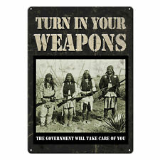River's Edge Products Tin Sign Turn In Your Guns Weatherproof 17x12in