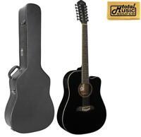 Oscar Schmidt 12 String Acoustic/Electric Guitar w/ Case, Black, OD312CEB CASE