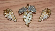 Gold Tone White Pearl Grape Shaped Stud Earrings & Pin/Brooch Jewelry Set *READ*