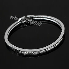 Womens Polished Stainless Steel Clear CZ Inlay Wedding Bangle Bracelet Cuff