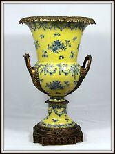 "Exquisite ""Grand Porcelain & Bronze Urn"" (18.75"" High x 11"" Wide) Fluted Handles"