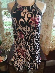 White House Black Market White & Black Sleeveless Shift Dress Size Medium Purple