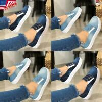 Women Girls Denim Lace Up Flat Blue Shoes Sneaker Casual Comfort Loafers Slip On