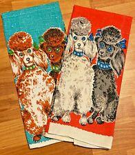 New listing Vintage Linen Dish Towels Poodles Brown Blue Grey Red Set of 2 Kitchen