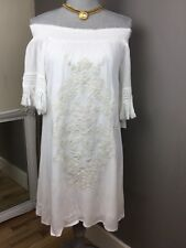 Xhilaration Natural Beauty Embroidered Gauze off shoulder Boho Dress Cover Up S