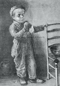 1871 Original Print ART - BOY BLOWING BUBBLES by W. HUNT