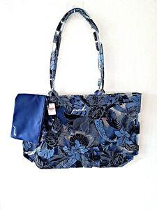Victoria Secret PINK Beach Tote Transparent bag  pouch Blue Tropic Summer Floral