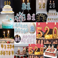 Gold Birthday Candles Number 0-9 Cake Topper Decoration Party Candle Supplies