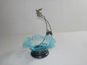 ANTIQUE SILVER PLATE BIRD FIGURAL OPALESCENT BLUE GLASS BRIDES BASKET BOWL