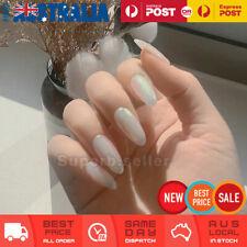24pc Pearl White Long Almond Fake Nail Tip Glue On False Press On Artificial NEW