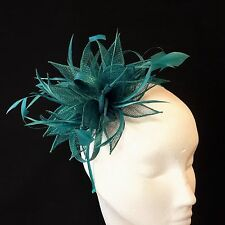 Teal Sinamay and Feather Fascinator For Races, Proms , Weddings