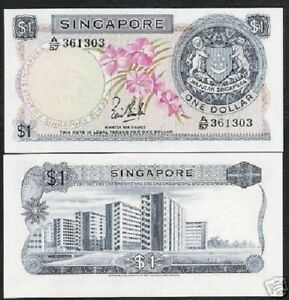 SINGAPORE 1 Dollar P-1 1967 LION ORCHID MAJOR Error RED Color Missing RARE NOTE