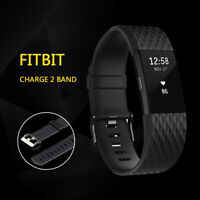 Black Replacement Wristband For Fitbit Charge 2 Band Silicone Fitness Large