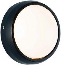 Powermaster Round Black Bulkhead Mini Plain Aluminium Outdoor Wall Light