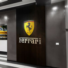 Ferrari Garage Sign logo color Letters Brushed Silver Aluminum Gift 3 feet