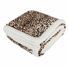 Leopard Animal Print Luxury Fleece Blanket Soft Sherpa Sofa Bed Throw 130x160cm