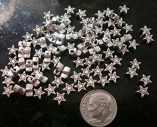 100 Ant silver plated 6mm star shaped spacer beads create earrings beads fpb177