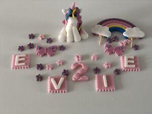 Personalised unicorn cake topper birthday rainbow handmade pink decoration girls