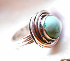 Silberring Handarbeit Türkis Massiv DICK 55 Ring Silber Rund Vintage Verspielt