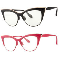 Large Cat Eye Clear Lens Glasses Metal rims 50s Vintage Women Retro Eyeglasses