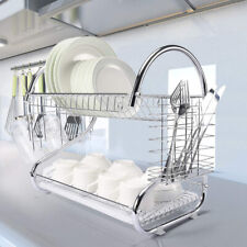 2 Layer Metal Dish Rack Drainer Sink Cutlery Drying Holder Dryer Tray Kitchen