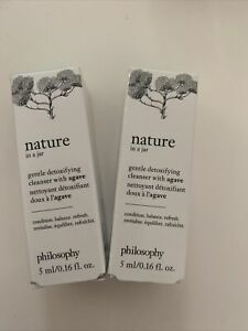 2 x Philosophy Nature In A Jar Gentle Detoxifying Agave CLEANSER 0.16Oz Each NIB