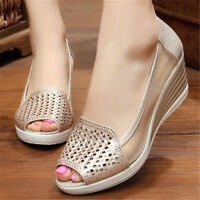 Womens Lady Casual Pumps Wedge Heel Hollow Out Breathable Peep Toe Shoes Slip On