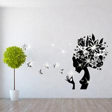 Walplus Wall Sticker Beauty Lady with Swarovski Crystal Bedroom Home Decorations