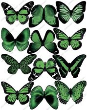 Cakeshop 12 x PRE-CUT Green Edible Butterfly Cake Toppers