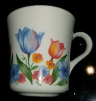 Corelle/Corning Ware, Fresh Cut Pattern Tulips, Coffee Mug Tea Cups Set of 4 EUC