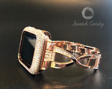 Apple Watch Band 42mm S 2/3 Rose Gold Rhinestone Case Cover Bezel Lab Diamonds