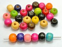 "200 Mixed Color 10mm (3/8"") Round Wood Beads~Wooden Beads Jewellery Making"