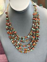 """Bijoux Terser Multi Strand Tigers Eye  Stone  Accented Bohemian Necklace 20"""""""
