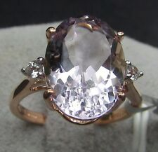5.69 cts Genuine Rose De France Amethyst Size 7 Ring 10k Rose Gold w/Accents