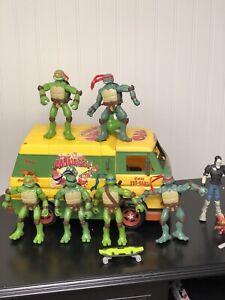Vintage TMNT Cowabunga Carl Yellow Pizza Van Lot & Ninja Turtles Figures
