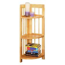 3 Tier Corner Shelf Unit with Folding Storage Rack Tropical Hevea Wood Books