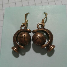 """OLD GOLD BRONZE PLATED""""GLOBES IN STAND""""  EARRINGS ON HOOKS"""