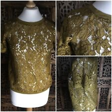 Promod ( French ) Deep Mustard Floral Cut Out  Blouse  Size 10 ( A3)