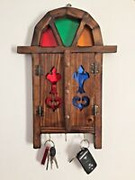 Wall Hanging Key Holder Solid Wood With Mirror Antique Style Hand Made