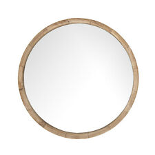 52cm Large Wooden Wall Mirror/ Hanging Mirror Solid Wood Round Mirror-Natural