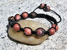 Natural Rhodonite pink gemstone bead  shamballa macrame boho beaded bracelet