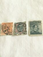 Lot of 3 Italy 1901 & 1906 Stamps King Victor Emmanuel III - used